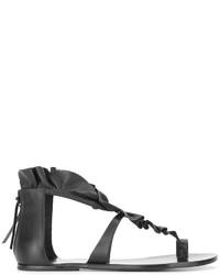 Sandalias planas de cuero negras de Isabel Marant