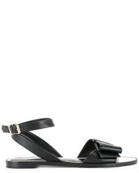Sandalias planas de cuero negras de Lanvin