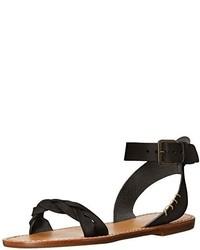 Sandalias planas de cuero negras de Soludos