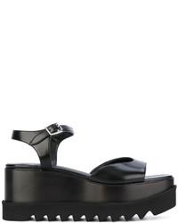 Sandalias planas de cuero negras de Stella McCartney