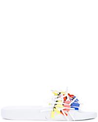 Sandalias planas de cuero сon flecos blancas de MSGM