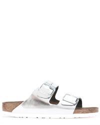 Sandalias planas de cuero plateadas de Birkenstock