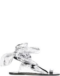 Sandalias planas de cuero plateadas de Isabel Marant