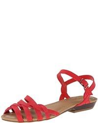 Sandalias planas de cuero rojas