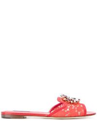 Sandalias planas de cuero rojas de Dolce & Gabbana