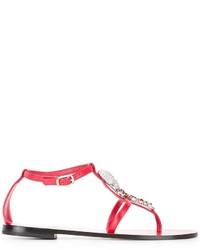 Sandalias planas de cuero rojas de Philipp Plein