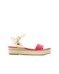 Sandalias planas de cuero rosa de Lanvin