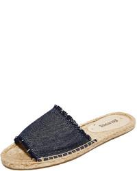 Sandalias planas de lona azul marino