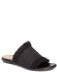 Sandalias planas de lona negras