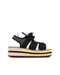 Sandalias planas estampadas negras de Marni