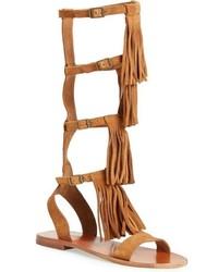 Sandalias romanas altas de ante marrón claro