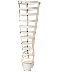 Sandalias romanas altas de cuero blancas de C Label