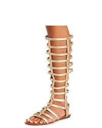 Sandalias romanas altas de cuero doradas