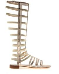 Sandalias romanas altas de cuero doradas de Stuart Weitzman