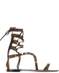 Sandalias romanas altas de cuero en marrón oscuro de Valentino