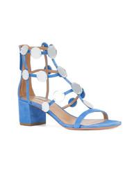 Sandalias romanas de ante con adornos azules de Aquazzura