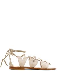Sandalias romanas de ante en beige