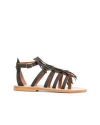 Sandalias romanas de ante en marrón oscuro de K. Jacques