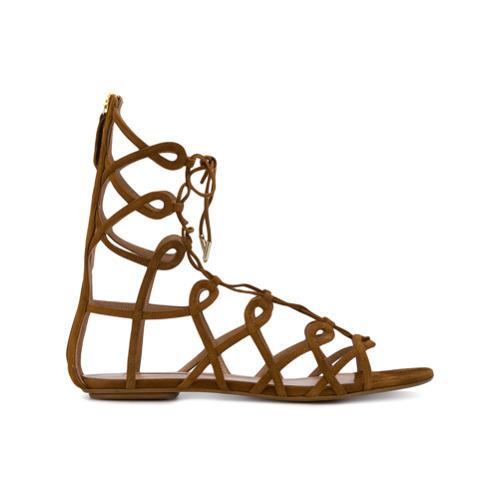 Sandalias romanas de ante marrónes de Aquazzura