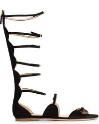 Sandalias romanas de ante negras de Giambattista Valli