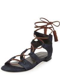 Sandalias romanas de cuero azul marino