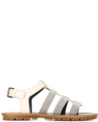 Sandalias romanas de cuero blancas de Brunello Cucinelli