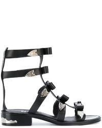 Sandalias romanas de cuero con adornos negras de Toga Pulla