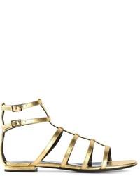 Sandalias romanas de cuero doradas de Saint Laurent