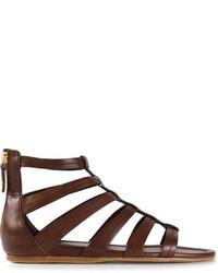 Sandalias romanas de cuero en marrón oscuro de Car Shoe