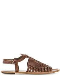 Sandalias romanas de cuero en marrón oscuro de Proenza Schouler