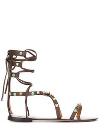Sandalias romanas de cuero en marrón oscuro de Valentino