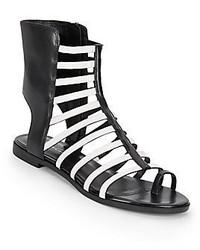 Sandalias romanas de cuero en negro y blanco