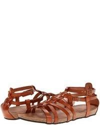 Sandalias romanas de cuero en tabaco