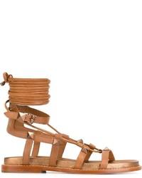 Sandalias romanas de cuero en tabaco de Ash