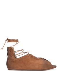 Sandalias romanas de cuero en tabaco de Marsèll