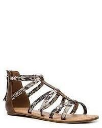 Sandalias romanas de cuero estampadas grises