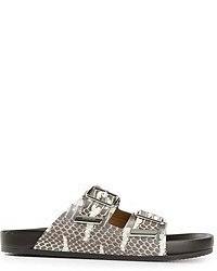 Sandalias romanas de cuero estampadas grises de Givenchy