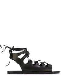 Sandalias romanas de cuero negras de Ancient Greek Sandals