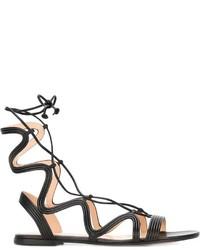 Sandalias romanas de cuero negras de Gianvito Rossi