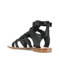 Sandalias romanas de cuero negras de Twin-Set