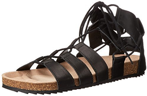 Sandalias romanas de cuero negras de Loeffler Randall
