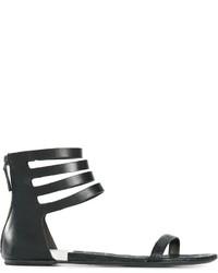 Sandalias romanas de cuero negras de Marsèll