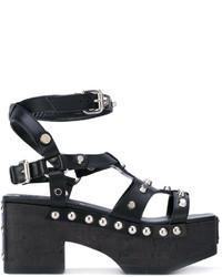 Sandalias romanas de cuero negras de MCQ