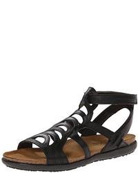Sandalias romanas de cuero negras de Naot