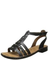 Sandalias romanas de cuero negras de Naturalizer