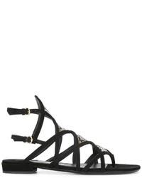 Sandalias romanas de cuero negras de Salvatore Ferragamo