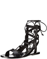 Sandalias romanas de cuero negras de Sigerson Morrison