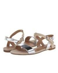 Sandalias romanas de cuero plateadas