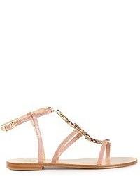 Sandalias romanas de cuero rosadas de Caruso