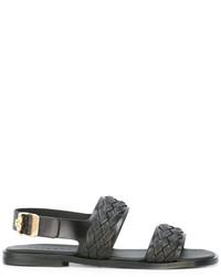 Sandalias tejidas negras de Versace